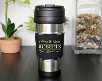 Leather Travel Mug, Leather Coffee Mug, Personalized Travel Mug, Personalized Coffee Mug, Coffee Mug, Custom Travel Mug --TM-BLTH-ROBERTS