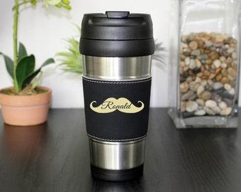 Leather Travel Mug, Leather Coffee Mug, Personalized Travel Mug, Personalized Coffee Mug, Coffee Mug, Custom Travel Mug --TM-BLTH-RONALD