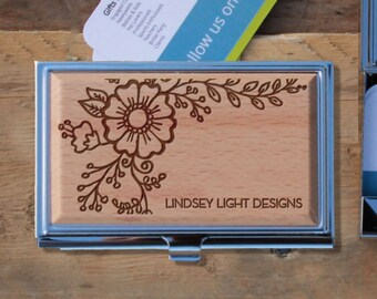 Personalized Business Card Holder, Custom Business Card Holder, Engraved Business Card Holder, Business Card Holder --BCH-WS-LINDSEYLIGHT