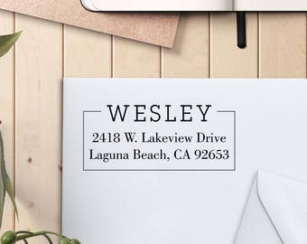 Return Address Stamp, Custom Rubber Stamp, Self Inking Stamp, Custom Return Address Stamp, Self Ink Return Address Stamp --si-4929-Wesley