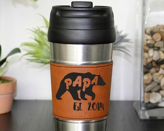 Father's Day Gifts, Father's Day Mug, Papa Bear Travel Mug, Leather Coffee Mug Personalized Travel Mug Personalized Mug --TM-RHLTH-PapaBear
