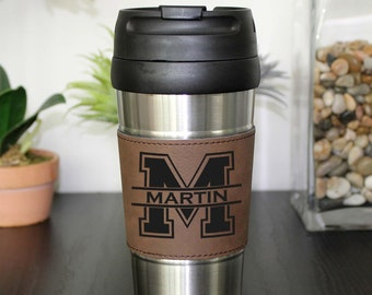 Father's Day Gifts, Father's Day Mug, Leather Travel Mug, Leather Coffee Mug Personalized Travel Mug Personalized Mug --TM-BLTH-Martin