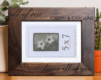 Personalized Picture Frame, Walnut Picture Frame, Personalized Photo Frame, Wedding Gifts, Custom Picture Frame, --PF-WAL-JOSEPHCAROLINE