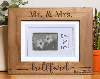 Personalized Picture Frame, Walnut Picture Frame, Personalized Photo Frame, Custom Photo Frame, Wedding Gifts Custom Frame --PF-WAL-HILLFORD