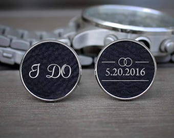 Custom Cuff Links, Custom Wedding Gifts, Wedding Cuff links, Engraved Cuff links, Groomsmen Gift, Custom Groomsmen Gifts --SSCL-B-IDO