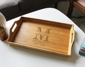 Breakfast in bed tray Valentines serving tray Coffee table Wooden serving tray Custom rustic tray Personalized Wood Tray Family Name