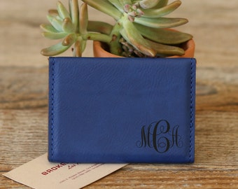 Personalized Business Card Holder, Custom Business Card Holder, Engraved Business Card Holder, Leather Business Card Holder --BCH-BL-MCA