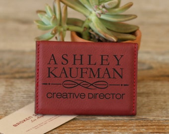 Personalized Business Card Holder, Business Card Holder, Engraved Business Card Holder, Leather Business Card Holder --BCH-RS-KAUFMAN