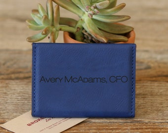 Personalized Business Card Holder, Business Card Holder, Engraved Business Card Holder, Leather Business Card Holder --BCH-BL-MCADAMS