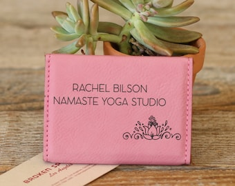 Personalized Business Card Holder, Custom Business Card Holder, Engraved Business Card Holder, Leather Business Card Holder --BCH-PK-BILSON
