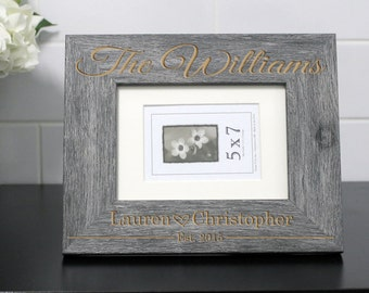 Personalized Picture Frame, Custom Picture Frame, Personalized Photo Frame, Custom Photo Frame, Wedding Gifts --PF-GRY-The Williams