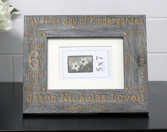 Personalized Picture Frame, Custom Picture Frame, Custom Photo Frame, Child Picture Frame, Back To School Frame --PF-GRY-Jason Lovell