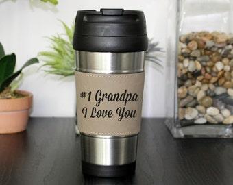 Leather Travel Mug, Leather Coffee Mug, Personalized Travel Mug, Personalized Coffee Mug, Coffee Mug, Custom Travel Mug --TM-LBLTH-#1GRANDPA
