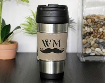 Leather Travel Mug, Leather Coffee Mug, Personalized Travel Mug, Personalize Coffee Mug, Coffee Mug, Custom Travel Mug --TM-LBLTH-WMMUSTACHE