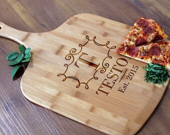 Personalized Pizza Peel, Custom Pizza Peel, Engraved Wood Pizza Peel, Housewarming Gifts, Christmas Gifts, Pizza Lovers --PZ-WOOD-Teston