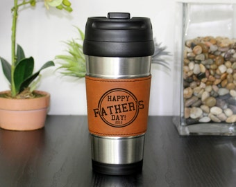 Leather Travel Mug, Leather Coffee Mug, Personalized Travel Mug, Personalize Coffee Mug, Coffee Mug, Custom Travel Mug --TM-RHLTH-FATHERSDAY