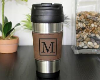 Leather Travel Mug, Leather Coffee Mug, Personalized Travel Mug, Personalized Coffee Mug, Coffee Mug, Custom Travel Mug --TM-DBLTH-M