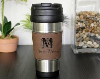 Leather Travel Mug, Leather Coffee Mug, Personalized Travel Mug, Personalize Coffee Mug, Coffee Mug, Custom Travel Mug --TM-DBLTH-LAURAMASON