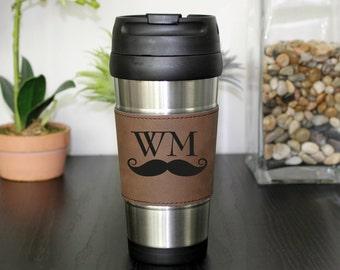 Leather Travel Mug, Leather Coffee Mug, Personalized Travel Mug, Personalized Mug, Coffee Mug, Custom Travel Mug --TM-DBLTH-WMMUSTACHE