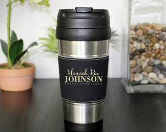 Leather Travel Mug, Leather Coffee Mug, Personalized Travel Mug, Personalized Mug, Coffee Mug, Custom Travel Mug --TM-BLTH-HANNAHRAEJOHNSON