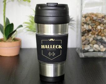 Leather Travel Mug, Leather Coffee Mug, Personalized Travel Mug, Personalized Coffee Mug, Coffee Mug, Custom Travel Mug --TM-BLTH-HALLECK