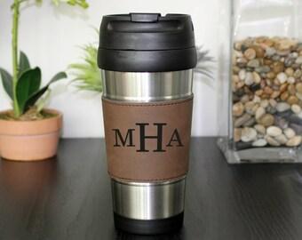 Leather Travel Mug, Leather Coffee Mug, Personalized Travel Mug, Personalized Mug, Coffee Mug, Custom Travel Mug --TM-DBLTH-MHA