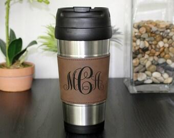 Leather Travel Mug, Leather Coffee Mug, Personalized Travel Mug, Personalized Coffee Mug, Coffee Mug, Custom Travel Mug --TM-DBLTH-MCACENTER