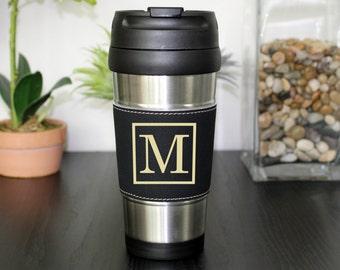 Leather Travel Mug, Leather Coffee Mug, Personalized Travel Mug, Personalized Coffee Mug, Coffee Mug, Custom Travel Mug --TM-BLTH-M
