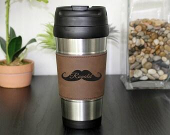 Leather Travel Mug, Leather Coffee Mug, Personalized Travel Mug, Personalized Coffee Mug, Coffee Mug, Custom Travel Mug --TM-DBLTH-RONALD
