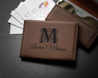 personalized business card holder custom business card holder engraved business card holder leather business card holder bch ldb mason - Custom Business Card Holder