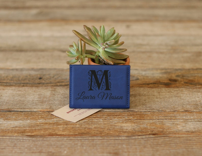 Leather Business Card Holder --BCH-PK-MASON Engraved Business Card Holder Custom Business Card Holder Personalized Business Card Holder