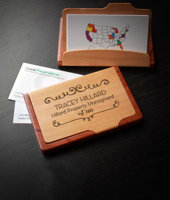 Personalized business card holder custom business card etsy image 0 reheart Gallery