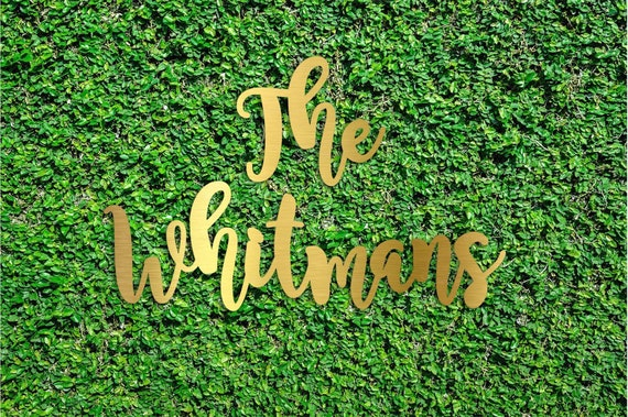 Gold Monogram Wood Hedge Wall Sign Wedding Back drop Monogram Sign Large Monogram cut outs Large Name Hedge wall Signs -SIGN-GLD-BGE