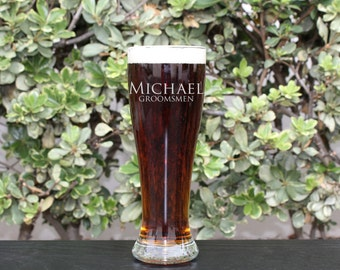 Groomsman Gift, Personalized Beer Glasses, Personalized Glass, Custom Engraved Beer Glasses, Engraved Pilsner Glasses, --GLS-PILSNER-Michael