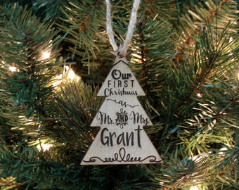 Christmas Ornament, Personalized Ornament, Custom Christmas Ornament, Wood Engraved Ornament, Wood Ornament,  --ORN-WOOD-Grant