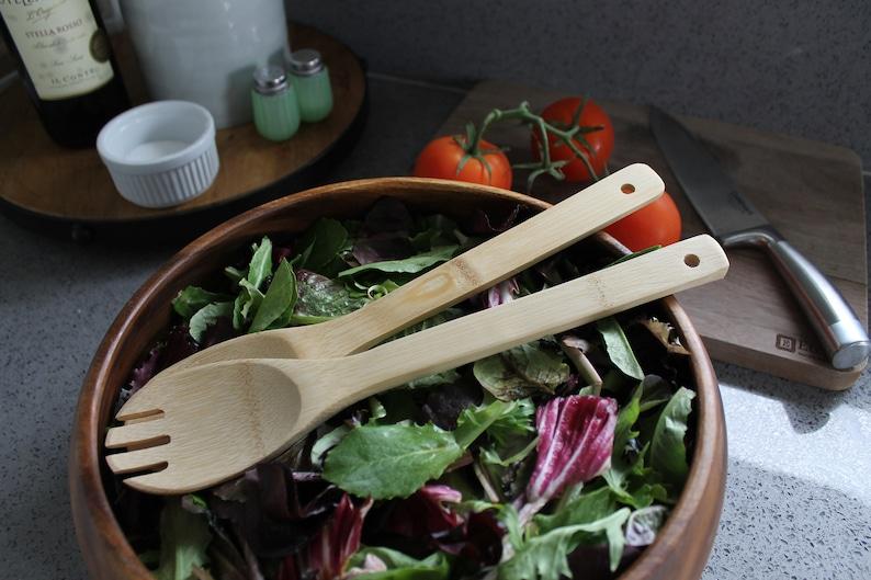 Custom Engraved Salad Utensils Personalized Kitchen Wood Utensils Custom Wooden Kitchen Utensils --UTN-SAL-WALTERS Wood Kitchen Utensils
