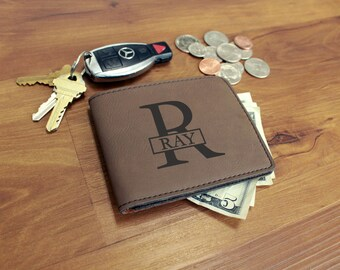 Personalized Leather Wallet, Personalized Wallet, Custom Leather Wallet, Engraved Leather Wallet, Groomsmen Gifts --WAL-DB-RAY
