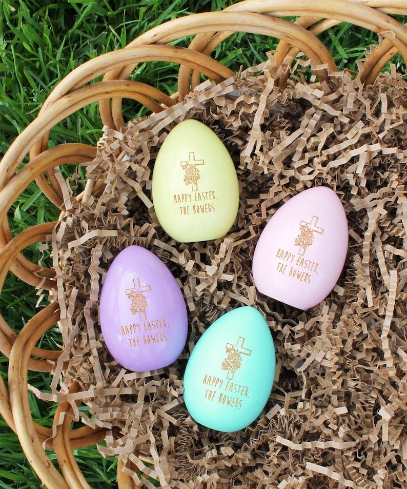 Custom Easter Gift Easter Decor Easter Basket Gift Wood Egg Easter Gifts --EGG-FOUR-Bowers Easter Decorations Personalized Easter Eggs
