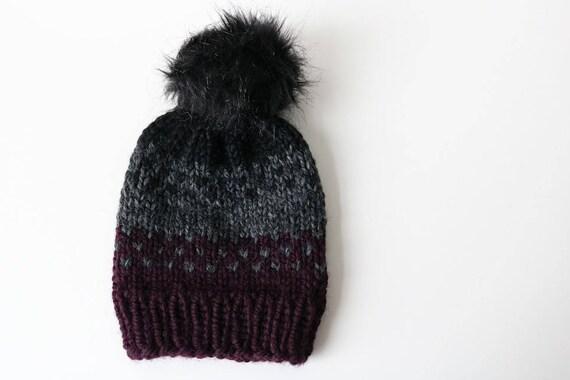 4141b0f2069 Knitted Fair Isle Knit Beanie Hat with Pom Pom. Handmade in