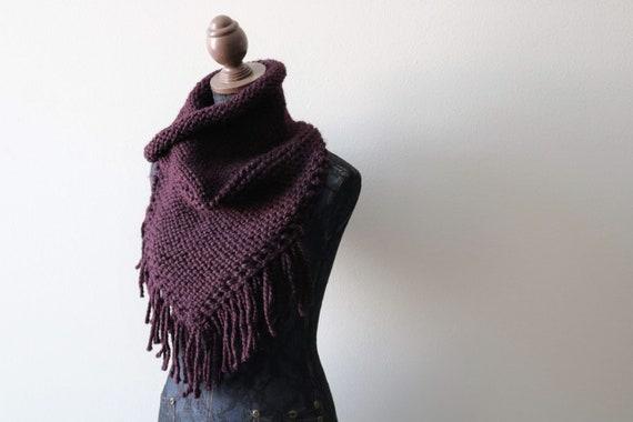 Knitted Cowl Infinity Scarf Handmade in Eggplant Chunky Wool Yarn.