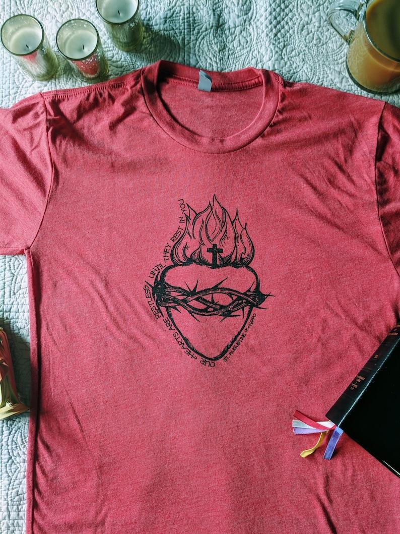 Sacred Heart Vintage Red Short Sleeve Triblend image 0