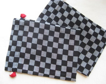 Kimono Kinchaku Pouch (Black & Gray)