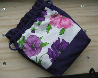 Violet Flower Kinchaku Pouch (Small)