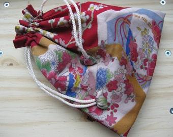 Japanese Kimono Material Kinchaku Pouch