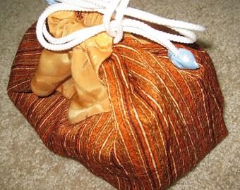 Orange Kimono KInchaku Pouch