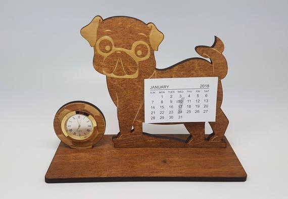 Calendrier de bureau en bois chien avec horloge calendrier de
