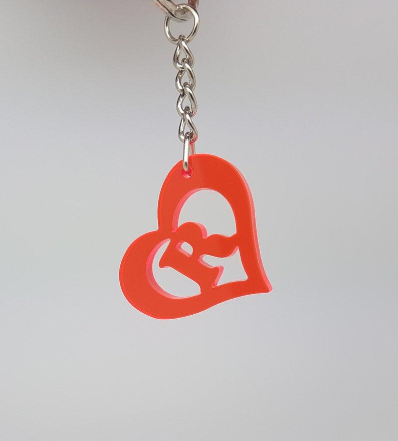 Heart shaped monogram cutout keychain,initial keyring,personalised key ring custom key ring designed personalised keyring