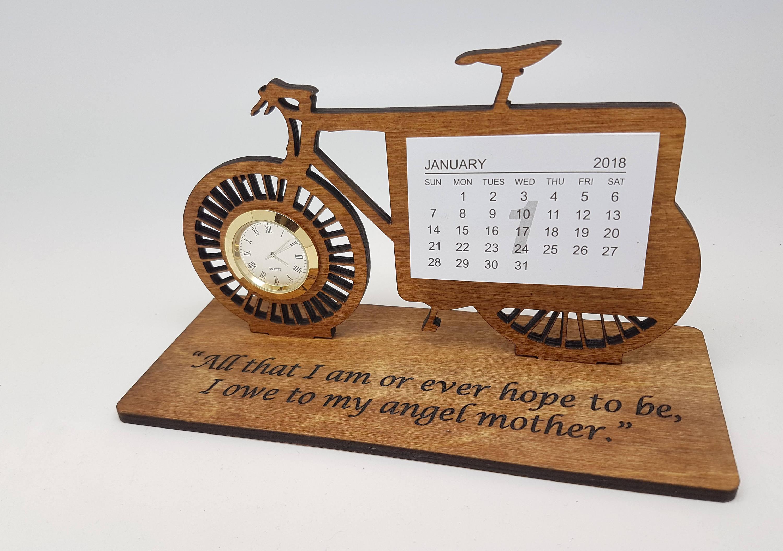 Bike Wooden Desk Calendar With Clock 2018 Desk Calendar Etsy