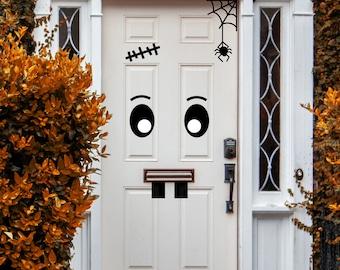 Halloween Front door Monster face sticker set, Halloween Door Decal Sticker, Halloween door and porch decorations, outdoor decoration