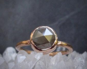 Rose Gold, Grey Diamond Ring, Rose Cut Grey Diamond, Unique Diamond Engagement Ring, 2 Carat, Conflict Free